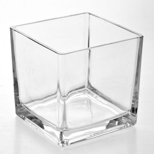 Стъклена ваза от прозрачно стъкло 15X15X15