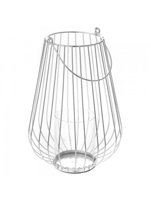 SILVER METAL CANDLE HOLDER D 18X27 WITH