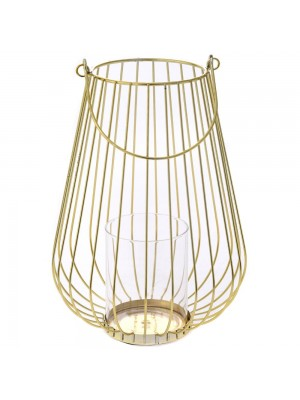 GOLD METAL CANDLE HOLDER D 18X27 WITH G