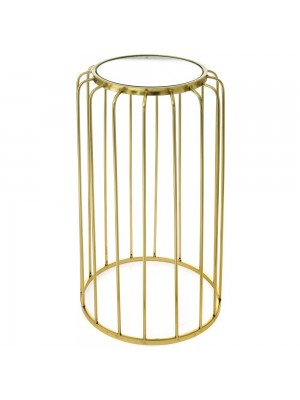 GOLD METAL TABLE D 38X69 W MIRROR TOP