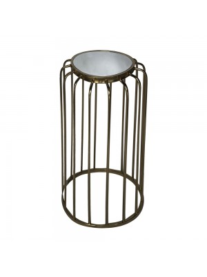 GOLD METAL TABLE D 33X59 W MIRROR TOP