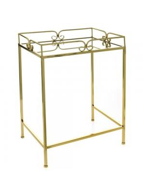 GOLD METAL TABLE 49X34X64 W MIRROR TOP