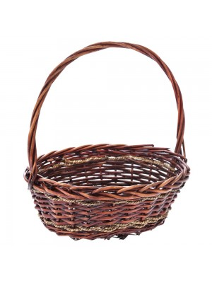 BROWN WILLOW BASKET W HANDLE