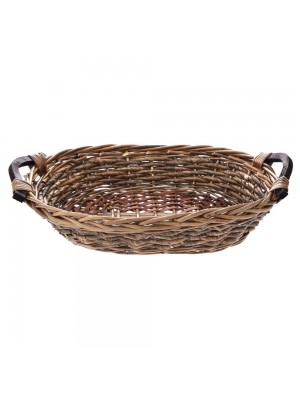 TWO TONE OVAL WILLOW BASKET