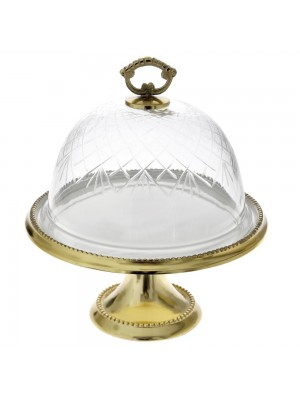 GOLD CAKE STAND D 28X34 W GLASS