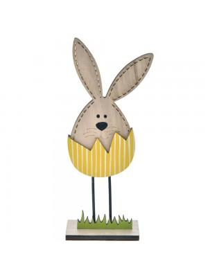 Дървен заек в жълто яйце 6X13 CM