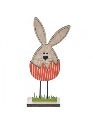 Дървен заек в червено яйце 6X13 CM