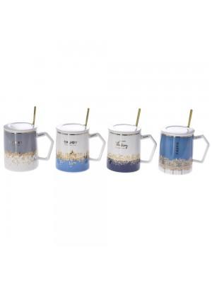 Керамична чаша с капак и лъжичка 12X12CM в 4 цвята