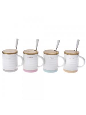Керамична чаша с капак и лъжичка 11CM в 4 цвята