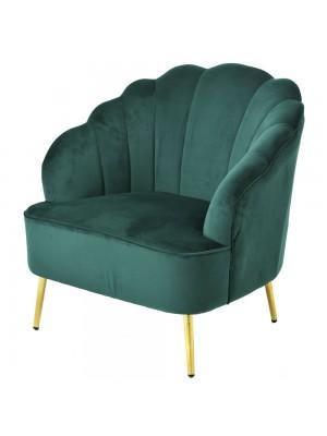Зелено плюшено кресло 74X70X79CM