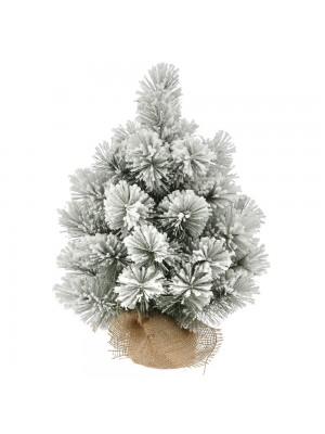 FLOCKED CHRISTMAS TREE Φ30Χ45CM WITH JUTE BASE 34TIPS
