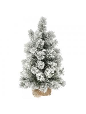 FLOCKED CHRISTMAS TREE Φ35Χ60CM WITH JUTE BASE 60TIPS