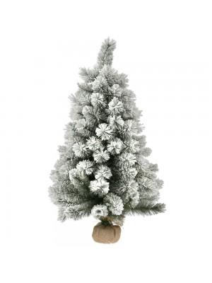 FLOCKED CHRISTMAS TREE Φ50Χ90CM WITH JUTE BASE 100TIPS