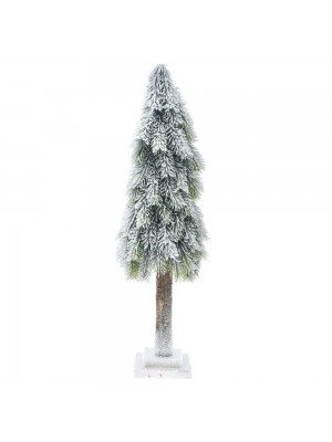 PLASTIC CONE TREE ON MDF BASE D19X60 CM WITH SNOW FINISH