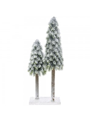 DOUBLE PLASTIC CONE TREE ON MDF BASE 25X17X55 CM WITH SNOW FINISH