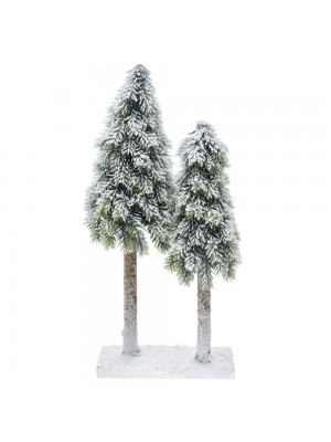 DOUBLE PLASTIC CONE TREE ON MDF BASE 21X12X40 CM WITH SNOW FINISH