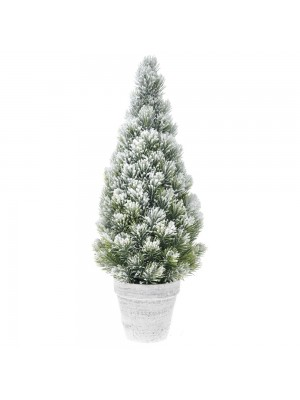 PLASTIC CONE TREE IN POT D 20X50 CM WITH SNOW FINISH