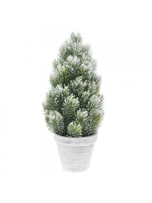 PLASTIC CONE TREE IN POT D 16X33 CM WITH SNOW FINISH