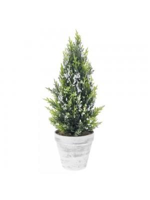 PLASTIC TREE IN POT D 15X40 CM WITH SNOW FINISH