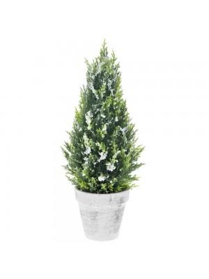 PLASTIC TREE IN POT D 16X45 CM WITH SNOW FINISH