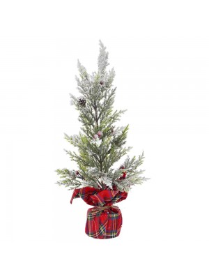 PLASTIC TREE IN RED PLAID FABRIC BASE D 13X42 CM WITH SNOW FINISH