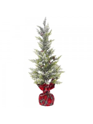 PLASTIC TREE IN RED PLAID FABRIC BASE D 22X60 CM WITH SNOW FINISH