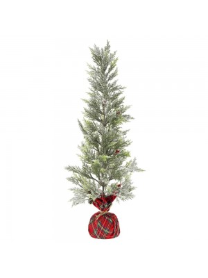 PLASTIC TREE IN RED PLAID FABRIC BASE D 25X75 CM WITH SNOW FINISH