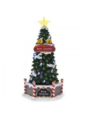POLYRESIN ANIMATED CHRISTMAS TREE 17X15X31CM