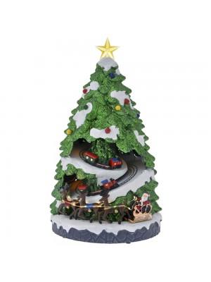 POLYRESIN ANIMATED CHRISTMAS TREE WITH TRAIN 23X23X42CM