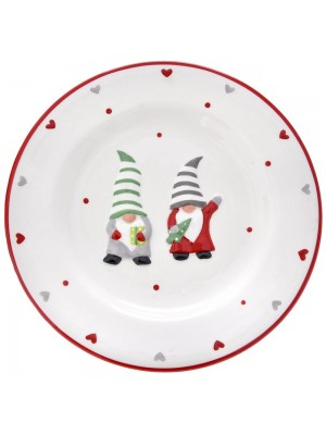WHITE CERAMIC PLATE WITH GNOMES D22CM