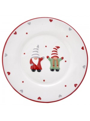 WHITE CERAMIC PLATE WITH GNOMES D19,5CM