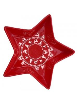 RED STAR CERAMIC PLATE 25X25CM