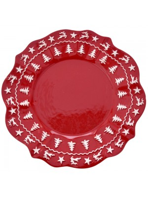 RED CERAMIC PLATE D24CM