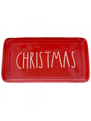 RED CERAMIC PLATE CHRISTMAS 23X12,5CM