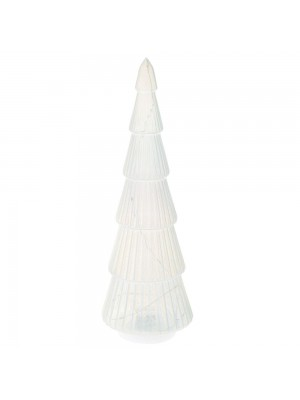 WHITE GLASS TREE 10X30CM WITH STRING LED BATTERY LIGHT