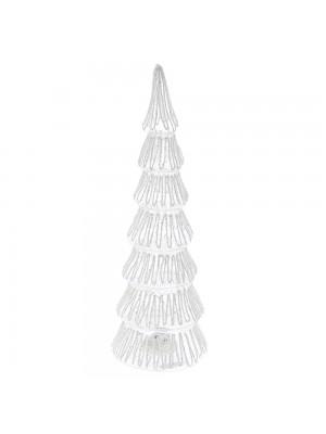 WHITE GLASS TREE 10X32CM WITH STRING LED LIGHT