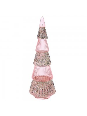 ROSE GOLD GLASS TREE 10X30CM WITH STRING LED LIGHTS