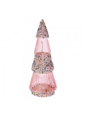 ROSE GOLD GLASS TREE 8X21CM WITH STRING LED LIGHTS