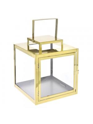 METAL GOLD LANTERN 25X25X29,5CM