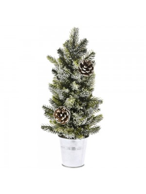 FROSTED CHRISTMAS TREE IN ZINC POT 14X33CM