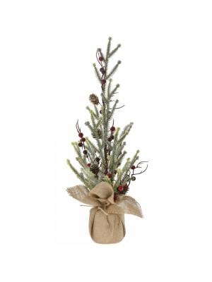 CHRISTMAS TREE WITH BERRIES IN JUTE BAG 50CM