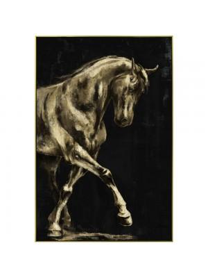 Маслена картина със златна рамка с кон