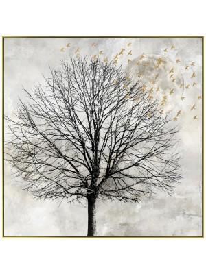 Маслена картина със златна рамка дърво