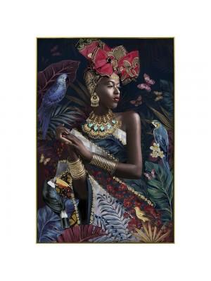 Маслена картина със златна рамка жена със златни бижута