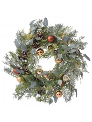 CHRISTMAS FIR WREATH WITH COOPER BAUBLES 50CM