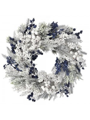 CHRISTMAS FLOCKED WREATH WITH BLUE BERRIES 55CM