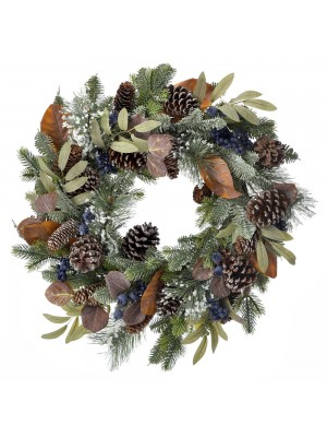 CHRISTMAS FIR WREATH WITH BLUE BERRIES AND CONES 50CM