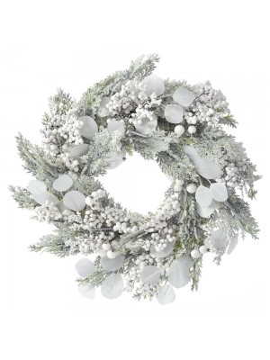 CHRISTMAS FROSTED WREATH WITH WHITE BERRIES 55CM
