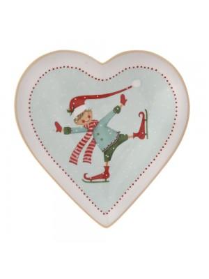 CHRISTMAS HEART SHAPE CERAMIC PLATE 14X14CM