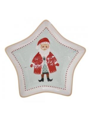 CHRISTMAS STAR SHAPE CERAMIC PLATE 16X12CM